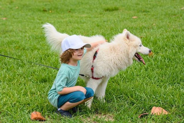 Kleiner junge, der weißen, flauschigen samojedenhund umarmt und im park oder im grashintergrund lacht.