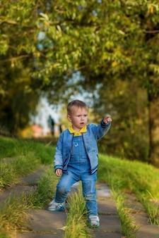 Kleiner junge geht die stufen hinunter und zeigt an einem sommertag mit dem finger zur seite im öffentlichen park.