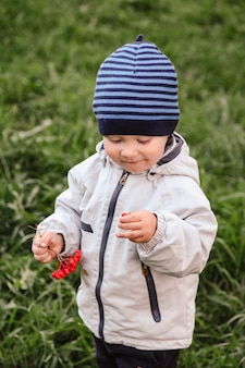 Kleiner junge in herbstkleidung in der natur im park, der vogelbeeren spielt und isst. kind von zwei oder drei jahren auf gras mit zweig der herbsteberesche hat spaß. platz für website kopieren