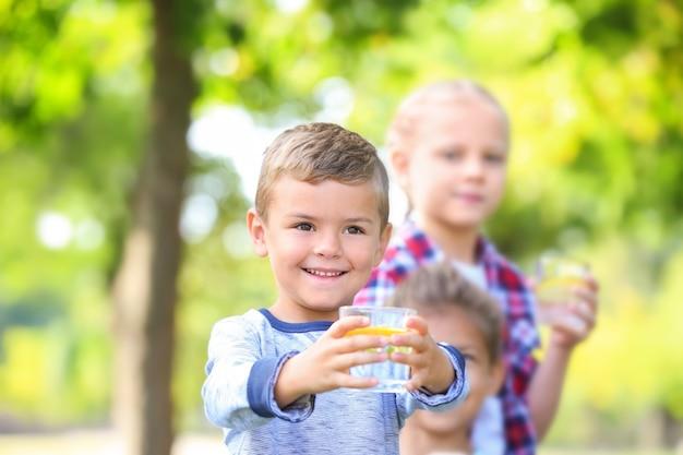 Kleiner junge mit freunden, die natürliche limonade im park trinken