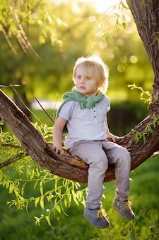 Kleiner junge sitzt auf einem ast eines baumes und träumt.