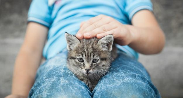 Kleiner junge und katze im freien.