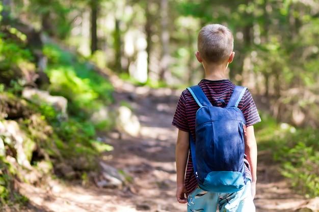 Kleiner kinderjunge mit dem wandererrucksack, der in wald reist