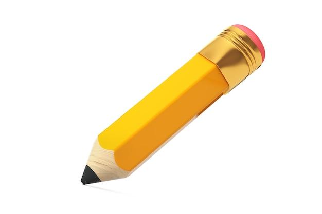 Kleiner kurzer cartoon-gelb-bleistift mit radiergummi auf weißem hintergrund. 3d-rendering