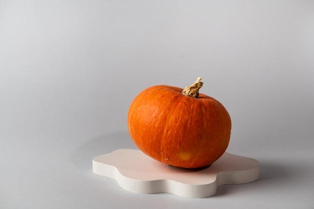 Kleiner orangefarbener kürbis auf grauem hintergrund mit kopienraum. konzeptfeier von halloween oder thanksgiving. produktpodest für halloween. herbststillleben,