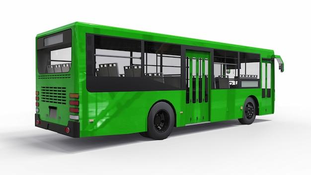 Kleiner städtischer grüner bus auf einem weißen hintergrund. 3d-rendering.