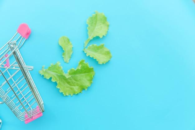 Kleiner supermarktlebensmittel-schubwagen zum einkaufen mit grünen salatblättern lokalisiert auf blauem pastell bunt