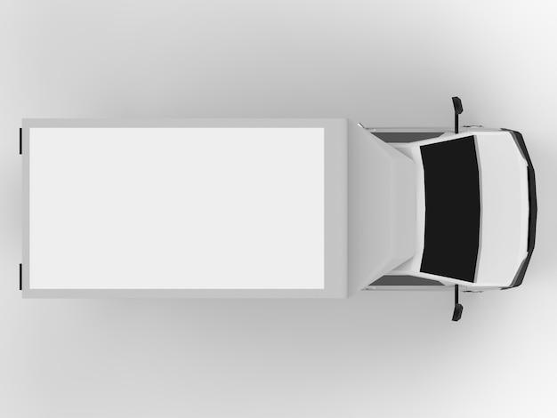 Kleiner weißer lkw. auto-lieferservice. lieferung von waren und produkten an einzelhandelsgeschäfte. 3d-rendering.