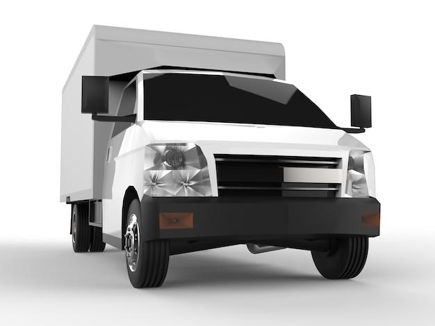 Kleiner weißer lkw. auto-lieferservice. lieferung von waren und produkten an einzelhandelsgeschäfte