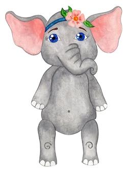 Kleines elefantenmädchen mit einem blumenverband auf dem kopf und einer handgezeichneten illustration mit großen blauen augen