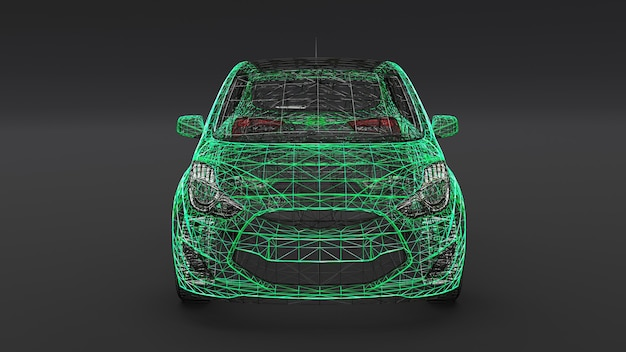 Kleines familienauto, mesh-design. 3d-rendering.