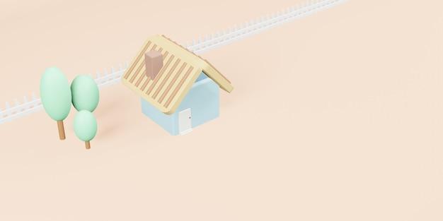 Kleines haus haus modell modell pastellfarben 3d-darstellung