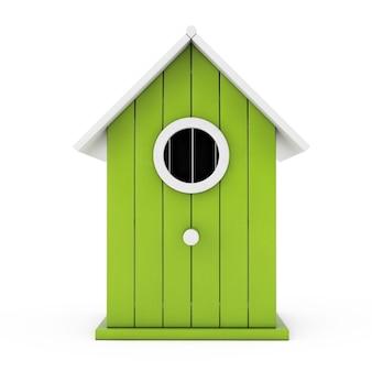 Kleines hölzernes olivgrünes vogelhaus auf einem weißen hintergrund. 3d-rendering.