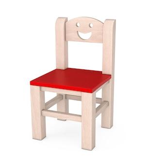 Kleines kind holzstuhl auf weißem hintergrund. 3d-rendering