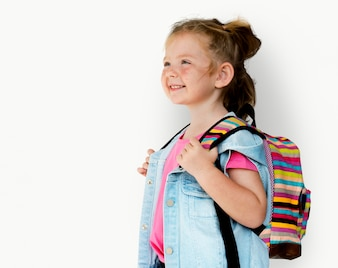 Kleines Mädchen lächelnd Glück Reisetasche