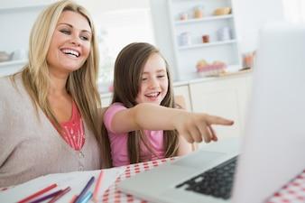 Kleines Mädchen und Mutter, die über Laptop am Küchentisch lachen