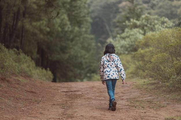 Kleines mädchen, das an einem bewölkten tag im wald spazieren geht