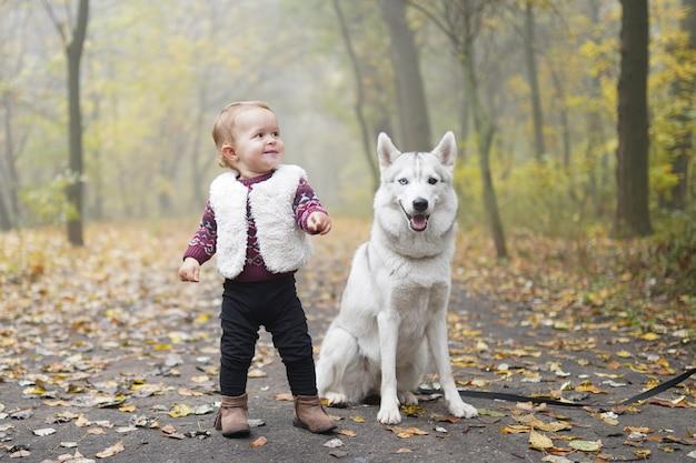 Kleines mädchen, das mit dem hundeschlittenhund geht in den wald spielt