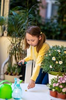 Kleines mädchen, das sich um balkonblumen kümmert und mit einer schere beschneidet.