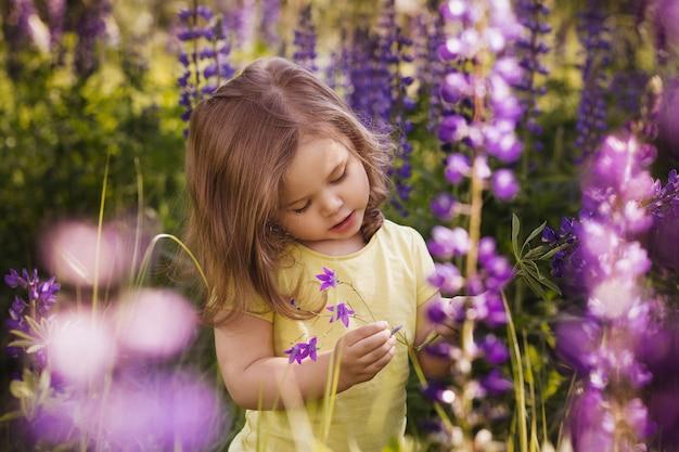 Kleines mädchen unter lila lupinenblüten