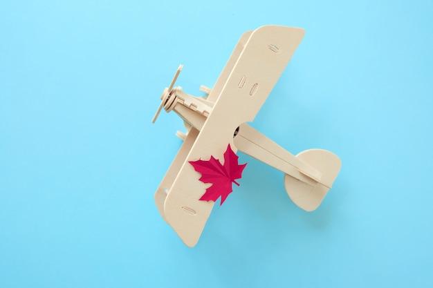 Kleines spielzeugflugzeug mit herbstblatt. herbst-konzept
