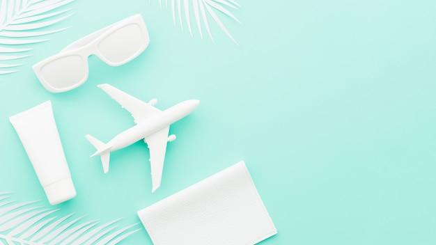 Kleines spielzeugflugzeug mit sonnenbrille und palmblättern