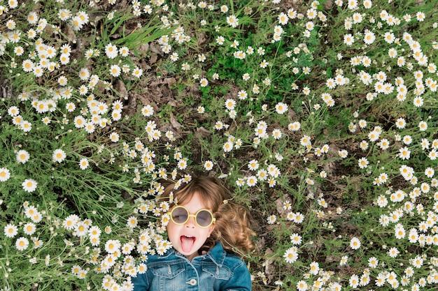Kleines süßes mädchen in der sonnenbrille liegt mit gänseblümchen auf dem feld.