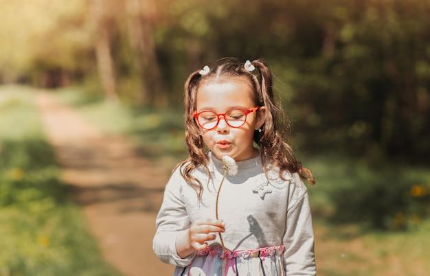 Kleines süßes mädchen mit brille, das im sommer auf löwenzahn in der natur bläst