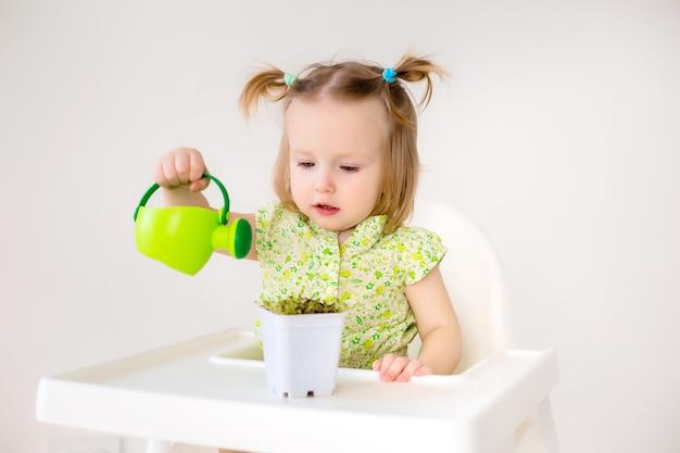 Kleinkindmädchen im grünen kleid gießt blumen mit wenig bewässerung auf weißem hintergrund