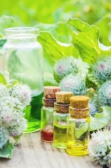 Klettenöl medizinische pflanzen. selektiver fokus