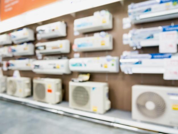 Klimaanlage im laden unscharfen hintergrund