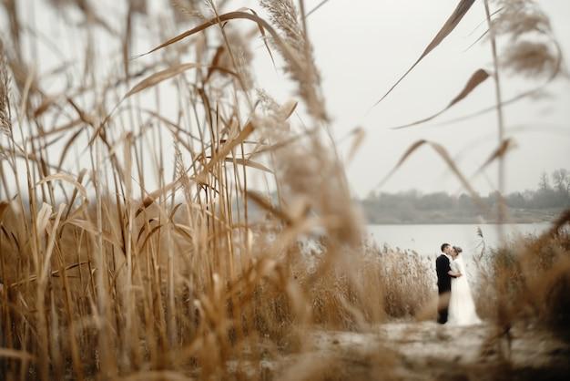 Klingen aus stroh mit einem paar in den hintergrund heiraten