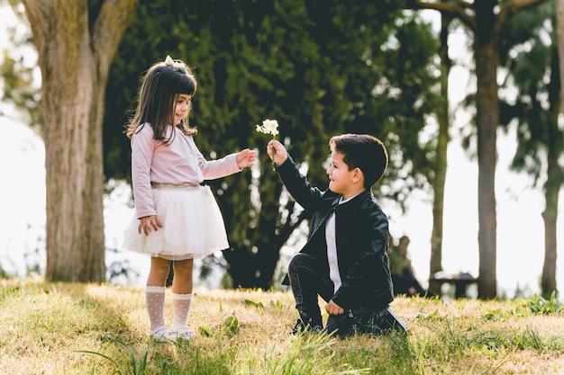 Kniender junge, der mit einer blume vorschlägt - junge, der heirat mit einer romantischen geste seiner freundin vorschlägt