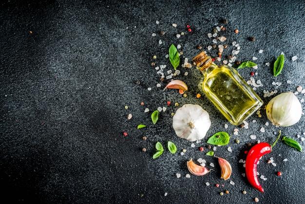 Kochen des konkreten steinhintergrundes mit gewürzen