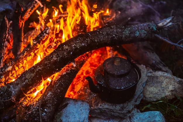 Kochen des tees im kessel am lagerfeuer mit großem brennholz. tee trinken im freien. aktive erholung im freien. camping in der abenddämmerung. romantisch warme atmosphäre in der dämmerung der natur. aktive erholung.