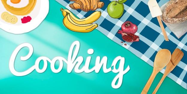 Kochen kulinarisch gourmet backen gesundes hobbykonzept