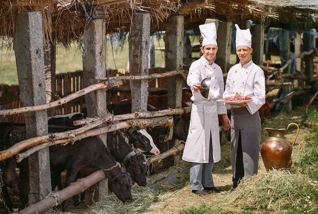 Köche mit einem teller mit einem rohen stück fleisch auf dem hintergrund eines kuhstalles.