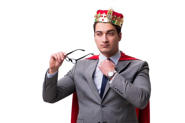 Königgeschäftsmann, der rote abdeckung trägt
