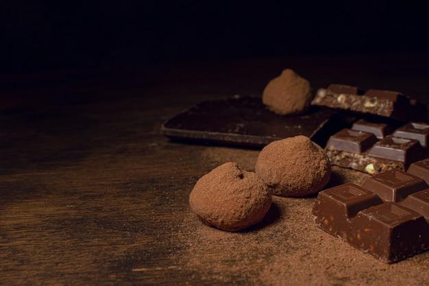 Köstliche auswahl an schokolade