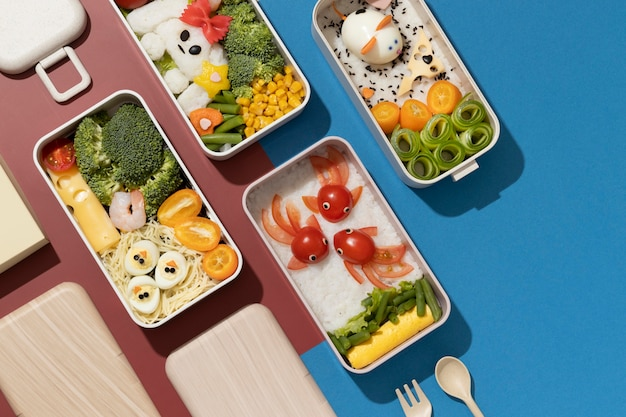 Köstliche bento-box-anordnung