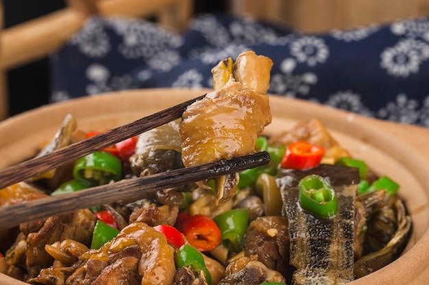 Köstliche chinesische küche, weichschildkröte gedünstet mit hühnchentopf Kostenlose Fotos