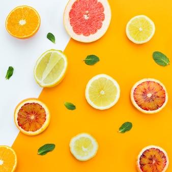 Köstliche frisch geschnittene scheiben von zitrusfrüchten und blättern