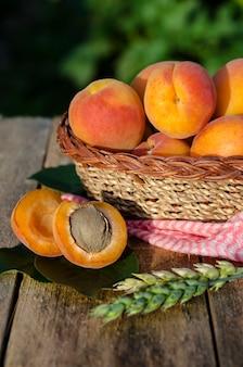 Köstliche reife aprikosen in einem korb auf rustikalem hintergrund. gesunde lebensmittel.