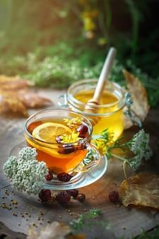 Köstlicher frischer honig und eine tasse gesunden tee mit zitrone und hagebutten