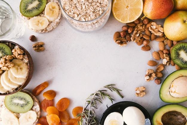 Köstlicher frühstücksnahrungsrahmen der draufsicht