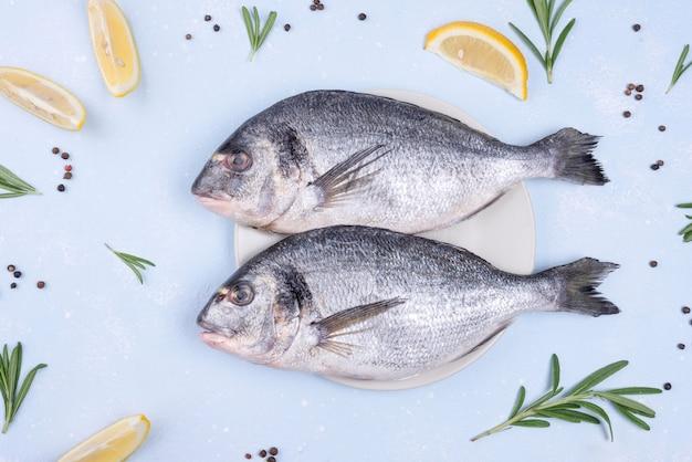 Köstlicher roher brassenfisch mit zutaten