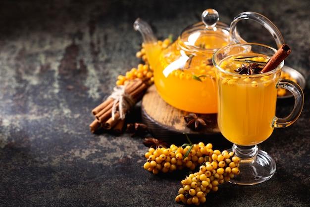 Köstliches und gesundes tee-konzept mit kopierraum