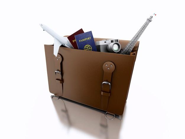 Koffer 3d geöffnet mit reisedingen. reise-konzept.