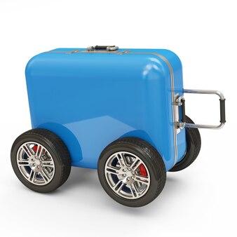 Koffer auf rädern lokalisiert auf weißem hintergrund