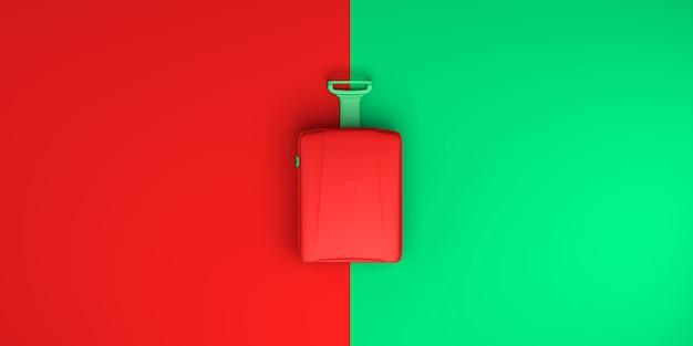Koffer auf rotem und grünem hintergrund. ansicht von oben. flach liegen. 3d-darstellung. banner.